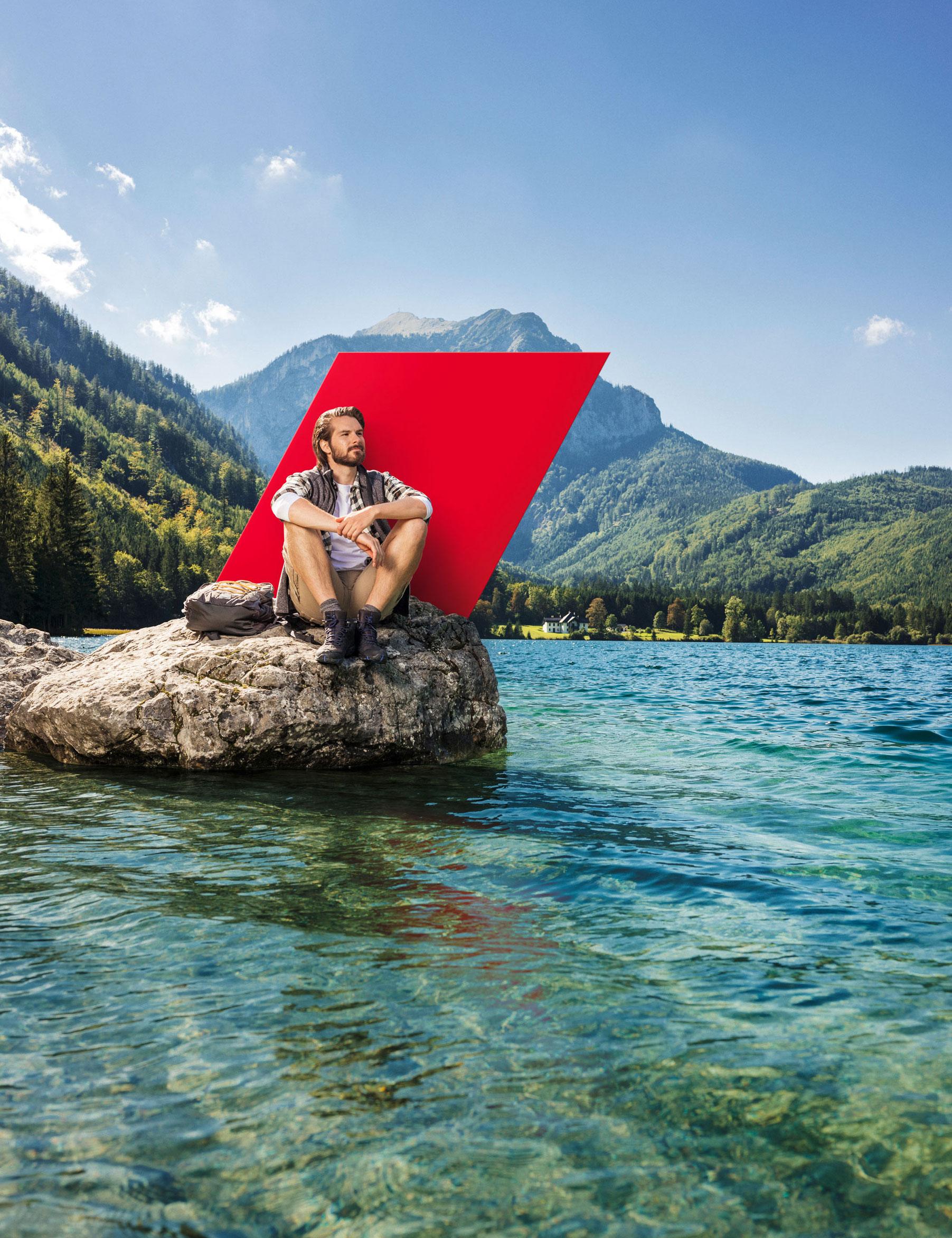 Blaupapier Bildretusche Bergsee